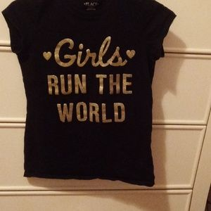 Black and Gold Glitter Tee Size 12